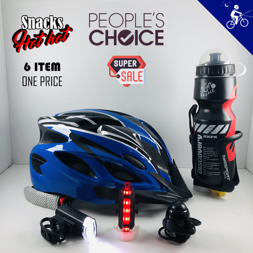 """Foto Produk Helm Sepeda """"Paket Sepeda Malam"""" - Biru dari Snacks Hot Hot"""