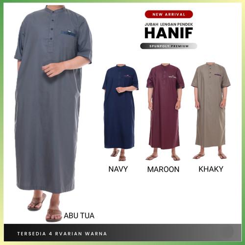 Foto Produk Baju Jubah Gamis Pria Muslim Laki Dewasa Hanif Lengan Pendek Premium - Navy, S dari Damar Muslim Store