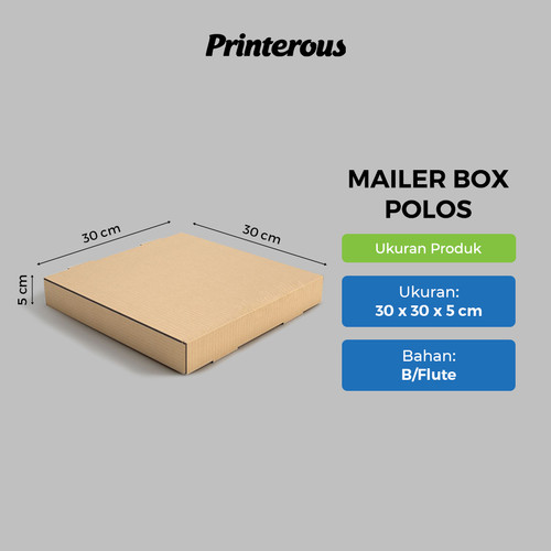 Foto Produk Corrugated Box - Mailer Box Polos / Box Pizza Polos 30x30x5 cm dari Printerous