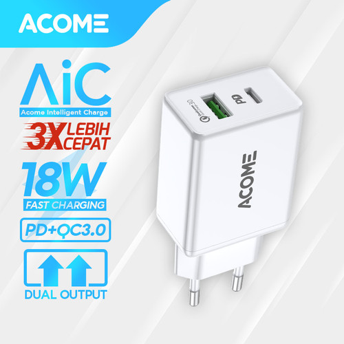 Foto Produk ACOME Charger Original Dual Output Fast Charging iPhone PD QC3.0 AC02 - Charger Only dari Acome Indonesia
