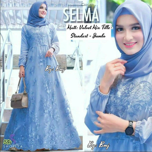 Foto Produk Baju Muslim Wanita Gamis Cewek Modern Atasan Dress Brokat Busui Jumbo - Biru Muda, standart dari Saputri Batik