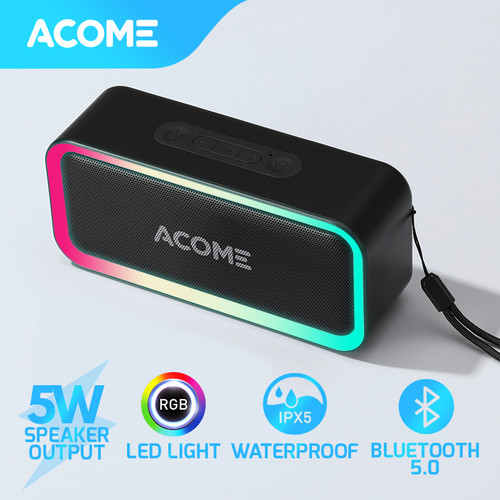Foto Produk ACOME Bluetooth Speaker TWS 5W RGB LED Party IPX5 Waterproof A6 - Black dari Acome Indonesia
