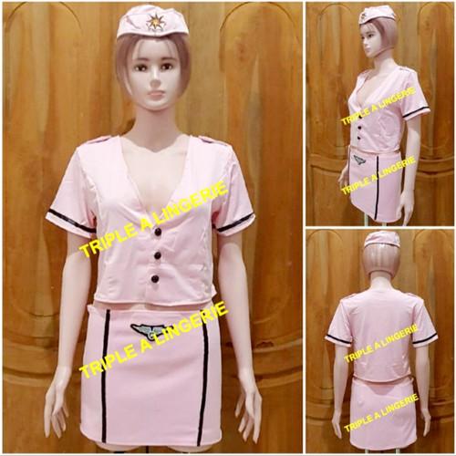 Foto Produk Sexy Lingerie Costume Pramugari Murah Baju Tidur Kostum TA0108 Pink dari Lingerie Murah Jogja
