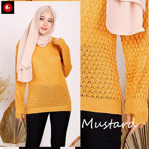 Foto Produk POP Okechuku Knit Sweater Rajut Wanita Lubang Jempol Korean Style - Mustard dari Okechuku