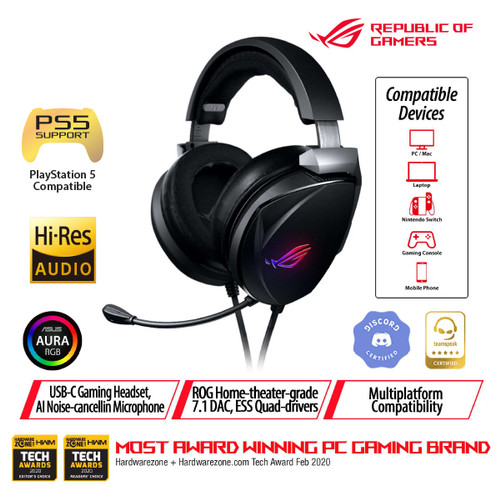 Foto Produk ASUS ROG Theta 7.1 Gaming Headset with AI Noise Cancelling Microphone dari Asus Component