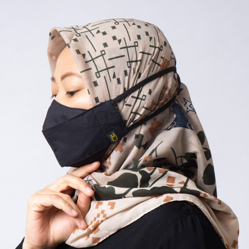 Foto Produk Masker Hijab 3 ply | Masker Headloop Kain Polos Warna Pastel model Evo - Hitam dari Irox Store