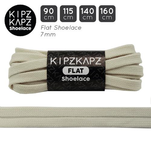 Foto Produk KipzKapz FS74 Powder White 90cm 115cm 140cm 160cm Tali Sepatu Pipih dari KipzKapz