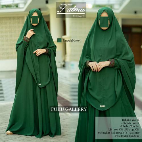 Foto Produk setelan gamis murah polos cadar bandana fatma syari 1 ori fuku galery - emerald dari aliefolshop