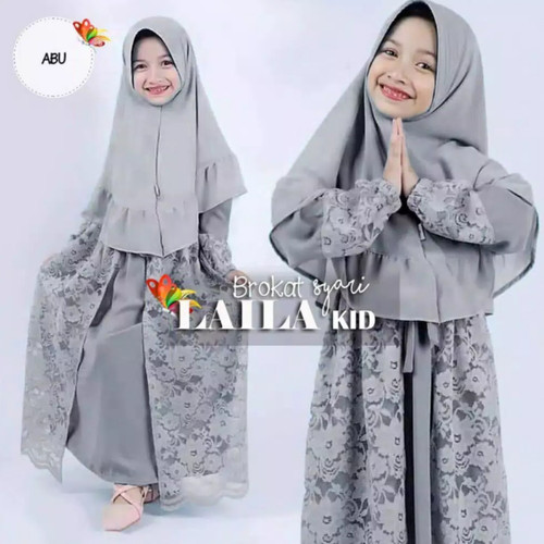 Foto Produk gamis anak perempuan / set Laila syar'i kids/baju muslim anak terbaru - Abu-abu, S dari family'fashion