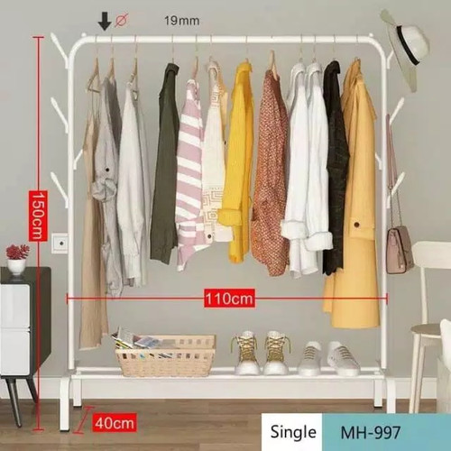Foto Produk Gantungan Pakaian Single Rak Pakaian Clothes Hanger MH997 - Putih dari eLocalStore Jakarta