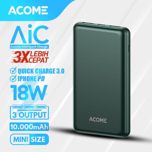 Foto Produk ACOME Powerbank 10000mAh QC 3.0 - 2 Output - Garansi 18 Bulan - AP102 - AP105 DarkGreen dari Acome Indonesia