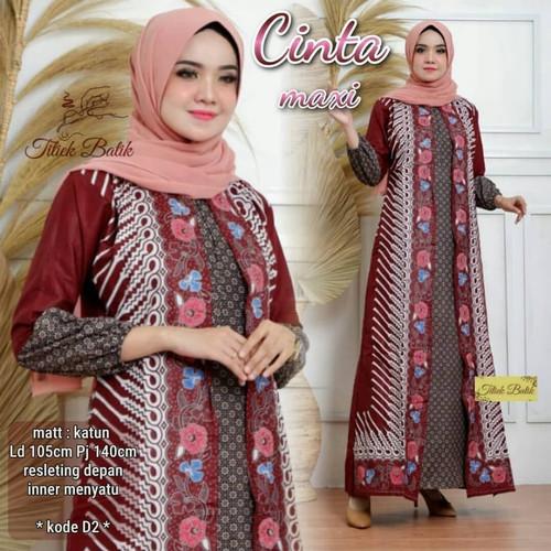 Foto Produk Baju Gamis Batik Wanita muslimah Atasan Cewek Panjang Modern Terbaru - Biru Muda dari Chank Cunk Batik