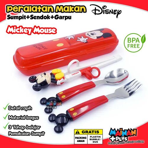 Foto Produk Peralatan Makan Anak Set Sendok Garpu Sumpit Training Chopstick Disney - Mickey Mouse dari MainanPlus