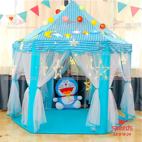 Foto Produk Tenda Anak Princess Model Rumah Tenda Mainan Anak Indoor 018-24 - Biru dari Speeds Official Store