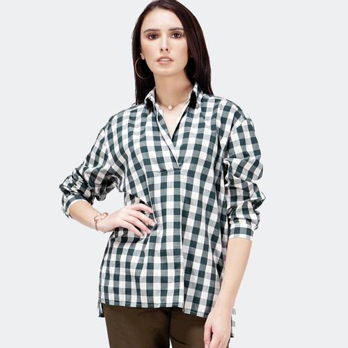 Foto Produk Blouse Wanita / Atiya Green Offwhite Shirt 24447T5NO - Bodytalk - M dari Bodytalk