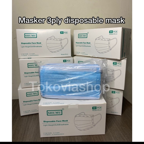 Foto Produk Masker 3 ply earloop Jiangyin @50 pcs dari Tokoviashop