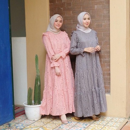 Foto Produk [REAL PICTURE] AISYAH BROCADE DRESS BRUKAT + SATIN TANAH ABANG PGMTA - Aisyah1GreyTali dari FaVia Shop