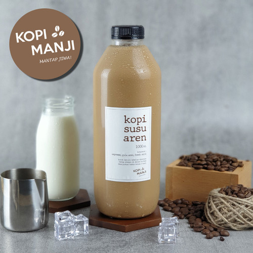 Foto Produk Kopi Susu Aren 1 liter / 1 ltr (KHUSUS INSTANT/SAME DAY) - No Sugar, Less Espresso dari Kopi Manji