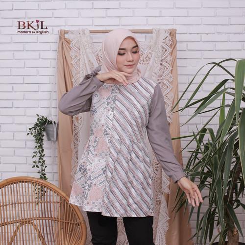 Foto Produk Baju Wanita Blouse Kombinasi Batik Soft Terbaru - Abu-abu, XL dari SANTY-COLLECTION
