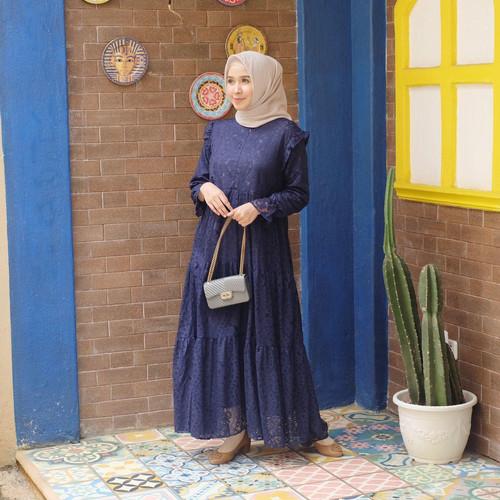 Foto Produk [REAL PICTURE] AISYAH BROCADE DRESS BRUKAT + SATIN TANAH ABANG PGMTA - Aisyah1NavyTali dari FaVia Shop