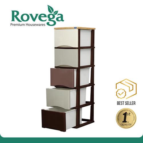 Foto Produk Rovega Lemari Plastik Pakaian 5 Susun Laci Rak Buku Rovega CSA520WDBM dari ROVEGA OFFICIAL STORE