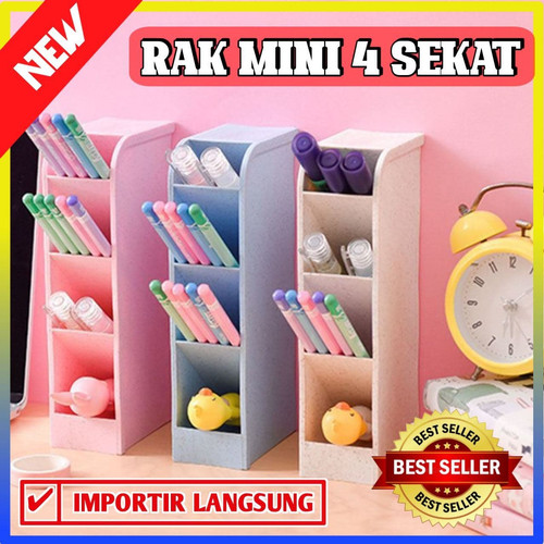 Foto Produk Rak mini 4 sekat tempat sendok alat tulis organizer table - 100308 - Merah Muda dari Dailyhomeshop