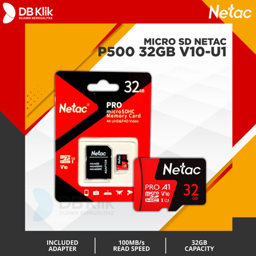 Foto Produk Micro SD 32GB V10-U1 NETAC With Adapter - NETAC Micro SD 32GB V 10 dari dbclick