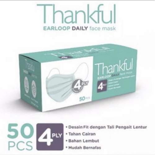 Foto Produk Masker Thankful daily mask 4 ply. 1 box isi 50 pcs. - Hijau dari Enjjoy