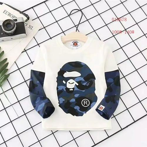 Foto Produk Kaos Anak Laki laki Lengan Panjang BAPE Mirror Qullity - Putih, 130 dari hamhampyo