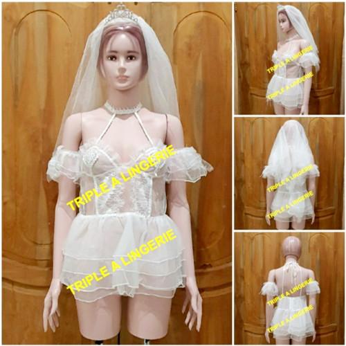 Foto Produk Sexy Lingerie Costume Wedding Murah Baju Tidur Kostum TA0678 Putih dari Lingerie Murah Jogja
