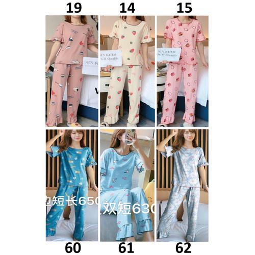 Foto Produk Piyama Wanita Baju Tidur Wanita Lengan Pendek Celana Panjang - Import dari Michary Shop