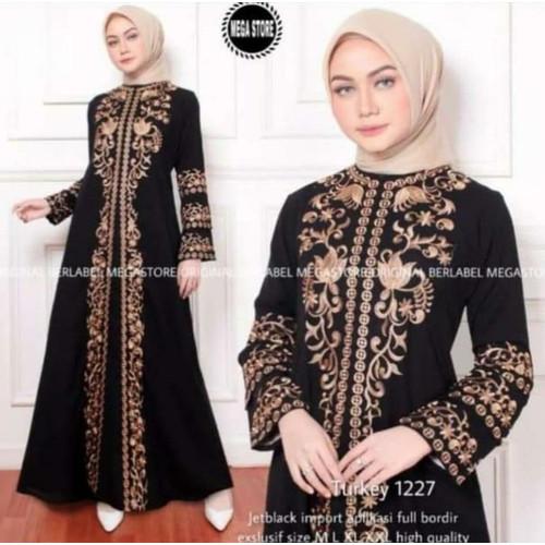 Foto Produk Exclusive Abaya Bordir Zahra By Salaf Boutique Bahan Jet Black dari Abaya Gamis Jubah