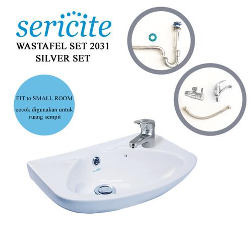 Foto Produk Wastafel Sericite 2031 KOMPLIT Keran/ Washtafel Kran Sifon SILVER SET dari serisaito
