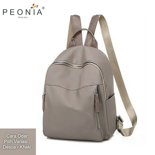 Foto Produk Peonia Tas Ransel Wanita Import Kantor Sekolah Kuliah Korea Desca Bag - Cokelat dari Peonia Official Store