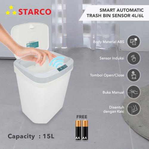 Foto Produk Starco Smart Otomatis Trash Bin Tempat Sampah Tong Sampah Sensor 15L dari Starco Official Store