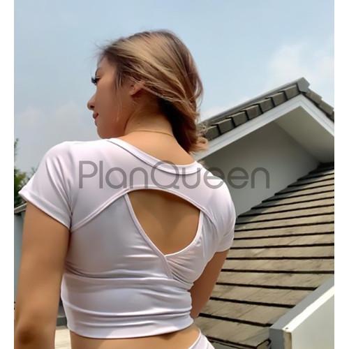 Foto Produk Atasan Senam Wanita Gym Aerobik Zumba Yoga Ketat Baju Olahraga Cewek - Putih, Allsize dari Plan Queen
