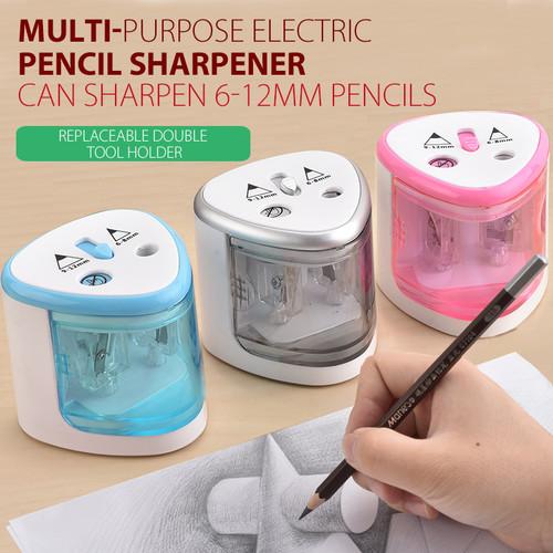 Foto Produk Triple W Rautan Serutan Electric Pencil Pensil Otomatis Elektrik - Putih dari Triple W Official