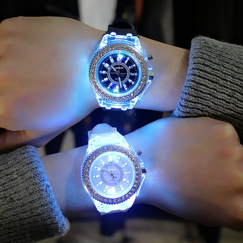 Foto Produk Jam tangan Valentine Quartz/ Jam Tangan lampu rainbow- Limited Edition - Couple Watch dari Ecoorporate