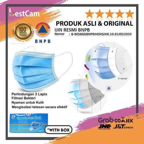 Foto Produk Masker 3 Ply isi 50 Disposable Surgical Mask Masker Bedah Earloop dari BestCam