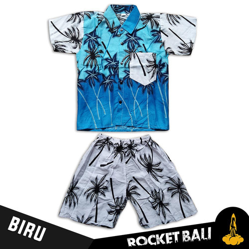 Foto Produk Baju Hawai Anak - Baju Pantai Anak Cowo - Kemeja Pantai Anak Laki - Biru, M dari Rocket Bali