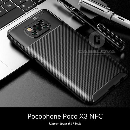 Foto Produk Case Pocophone Poco X3 NFC Synthetic Fiber Protective Carbon - Hitam dari Caselova Store