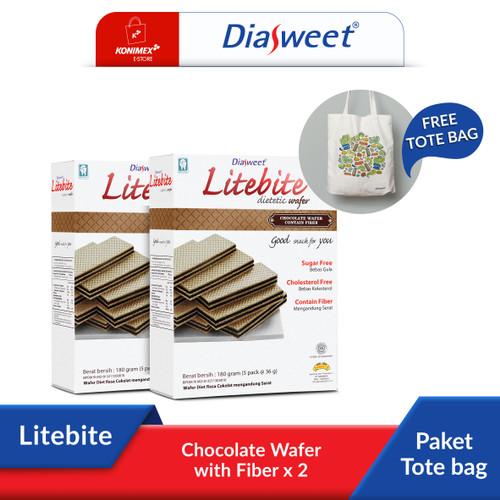 Foto Produk Diasweet Litebite Chocolate Wafer with Fiber 2 Dos bonus Totebag dari Konimex Store
