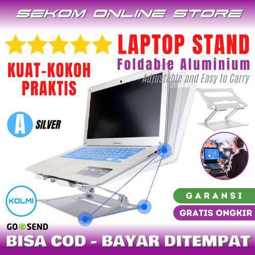 Foto Produk KOLMI Laptop Stand Foldable Portable Aluminium Dudukan Laptop - A SILVER dari SEKOM ONLINE STORE