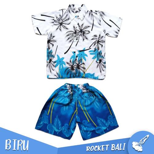 Foto Produk Set Baju Pantai Anak - Setelan Anak Murah - Baju & Celana Pantai Anak - Biru, M dari Rocket Bali