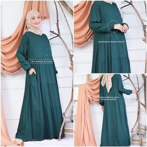 Foto Produk Gamis Katun Rayon Polos atau Homey Dress Polos - Black dari LEVANKA