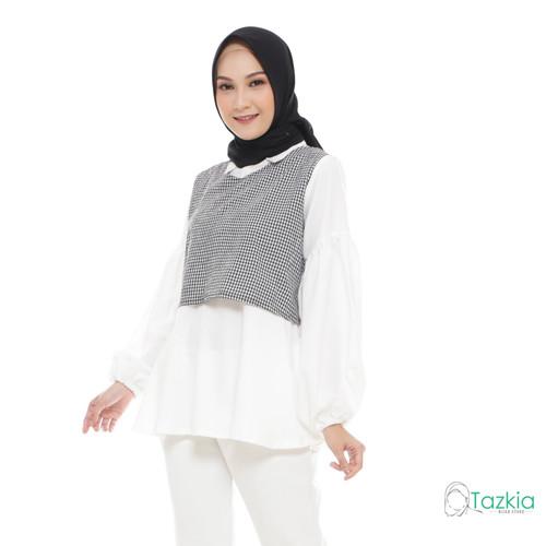 Foto Produk Atasan Muslim Wanita   Yuzu Blouse Hitam   S M L XL   Gingham Top - M dari Tazkia Hijab Store