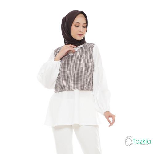 Foto Produk Atasan Muslim Wanita | Yuzu Blouse Cokelat | S M L XL | Gingham Top - M dari Tazkia Hijab Store