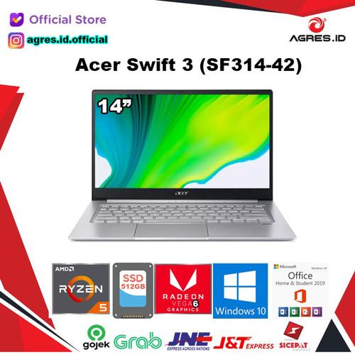 Foto Produk Laptop Acer Swift 3 SF314 42 Ryzen 5 4500U 8GB 512ssd Vega6 W10+OHS - Silver dari AGRES ID
