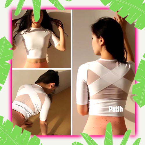 Foto Produk Atasan Senam Wanita Baju Aerobic Zumba Yoga Ketat Model Terbaru Murah - Putih dari Plan Queen