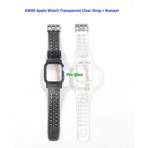 Foto Produk AW05 Apple Watch 42mm / 44mm Transparent Clear Strap with Bumper Case - Hitam dari Pro Glass